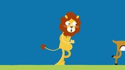 Il était une fois… un lion pas très en forme devant la gracieuse gazelle.'