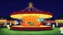 Une fête foraine s'est installée dans le parc mais Sarah et Couac ne retrouvent plus leur banc.'