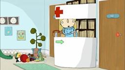 Sarah est enrhumée et Couac cherche à lui remonter le moral lors de sa visite chez le médecin.'