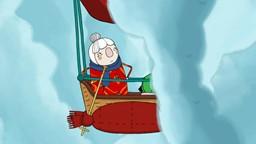 Madame Mitoufle s'envole dans un ballon à air chaud tricoté pour se mesurer à sa vieille amie'