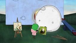 Sarah et Couac décident de donner des cours de peinture à Lune après être allés voir une exposition'