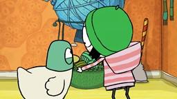 Madame Mitoufle n'a plus de laine. Sarah et Couac l'aident à refaire des pelotes de laine.'
