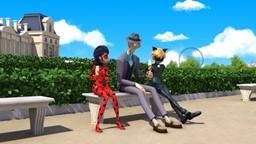 Ladybug affronte Timetagger, un super vilain venu du futur.'