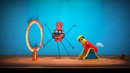 Pipas, l'araignée, et Douglas, la chenille, se mettent en scène. Sur les planches et sous les'